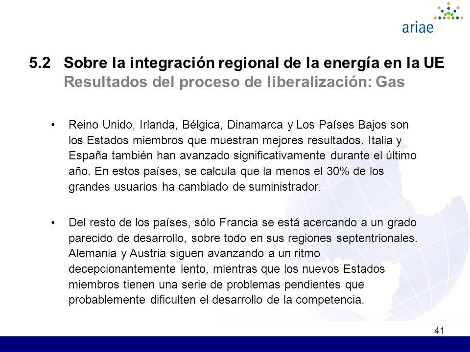 41 5.2 Sobre la integración regional de la energía en la UE Resultados del proceso de liberalización: Gas Reino Unido, Irlanda, Bélgica, Dinamarca y Los Países Bajos son los Estados miembros que muestran mejores resultados.