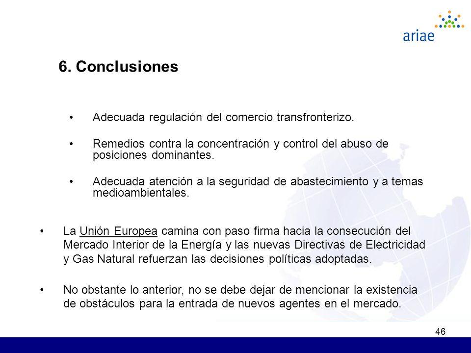 46 6. Conclusiones Adecuada regulación del comercio transfronterizo. Remedios contra la concentración y control del abuso de posiciones dominantes. Ad