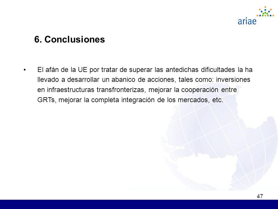 47 6. Conclusiones El afán de la UE por tratar de superar las antedichas dificultades la ha llevado a desarrollar un abanico de acciones, tales como: