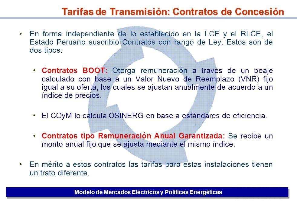 18 En forma independiente de lo establecido en la LCE y el RLCE, el Estado Peruano suscribió Contratos con rango de Ley. Estos son de dos tipos: Contr