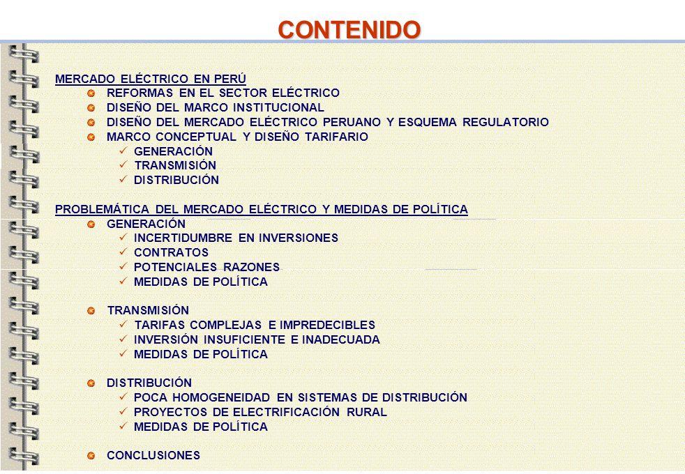 23 CONTENIDO PROBLEMÁTICA DEL MERCADO ELÉCTRICO Y MEDIDAS DE POLÍTICA GENERACIÓN INCERTIDUMBRE EN INVERSIONES CONTRATOS POTENCIALES RAZONES MEDIDAS DE POLÍTICA TRANSMISIÓN TARIFAS COMPLEJAS E IMPREDECIBLES INVERSIÓN INSUFICIENTE E INADECUADA MEDIDAS DE POLÍTICA DISTRIBUCIÓN POCA HOMOGENEIDAD EN SISTEMAS DE DISTRIBUCIÓN PROYECTOS DE ELECTRIFICACIÓN RURAL MEDIDAS DE POLÍTICA CONCLUSIONES