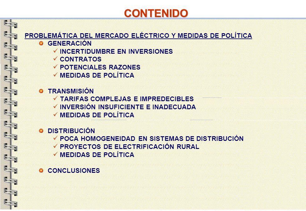 23 CONTENIDO PROBLEMÁTICA DEL MERCADO ELÉCTRICO Y MEDIDAS DE POLÍTICA GENERACIÓN INCERTIDUMBRE EN INVERSIONES CONTRATOS POTENCIALES RAZONES MEDIDAS DE
