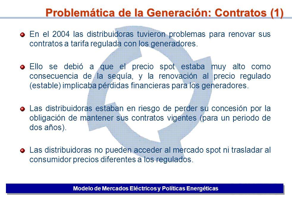 27 En el 2004 las distribuidoras tuvieron problemas para renovar sus contratos a tarifa regulada con los generadores. Ello se debió a que el precio sp