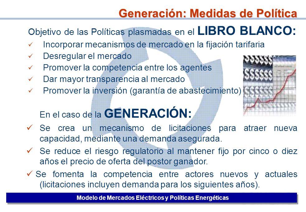 30 Objetivo de las Políticas plasmadas en el LIBRO BLANCO: Incorporar mecanismos de mercado en la fijación tarifaria Desregular el mercado Promover la