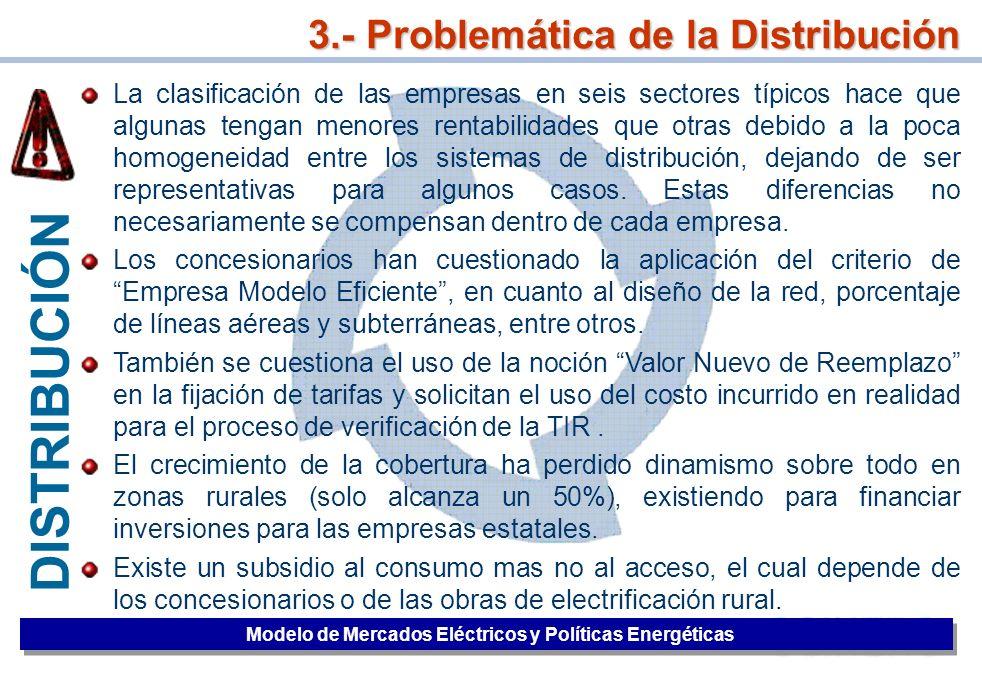 39 3.- Problemática de la Distribución Modelo de Mercados Eléctricos y Políticas Energéticas La clasificación de las empresas en seis sectores típicos
