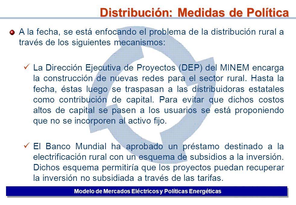 41 Distribución: Medidas de Política Modelo de Mercados Eléctricos y Políticas Energéticas A la fecha, se está enfocando el problema de la distribució