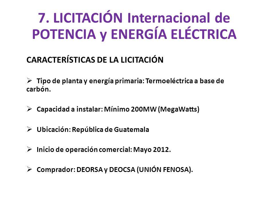 Tipo y duración del contrato: Potencia con opción de compra de energía.
