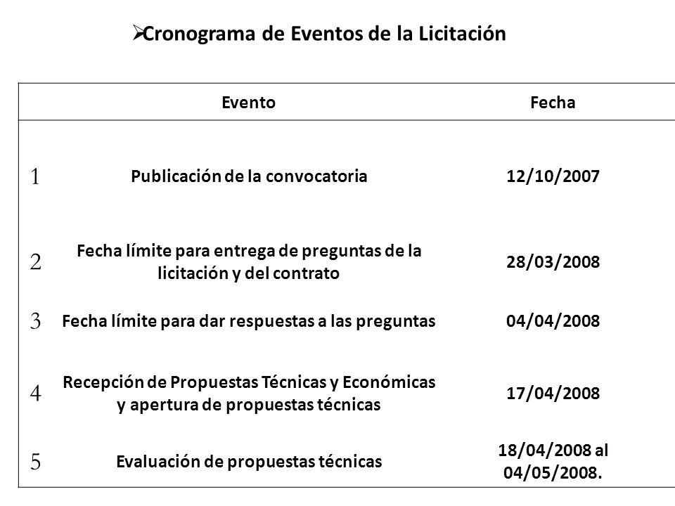 6 Dictamen de propuestas técnicas y apertura de propuestas económicas 05/05/2008 7 Evaluación de la propuesta económica y adjudicación 05/05/2008 8 Firma del contrato28/05/2008 9 Fecha programada de inicio01/12/2008 10 Fecha programada de operación comercial01/05/2012