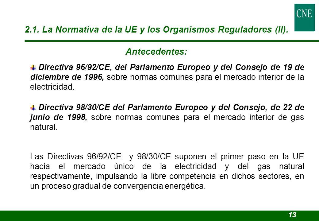 2.1. La Normativa de la UE y los Organismos Reguladores (II). Antecedentes: Directiva 96/92/CE, del Parlamento Europeo y del Consejo de 19 de diciembr