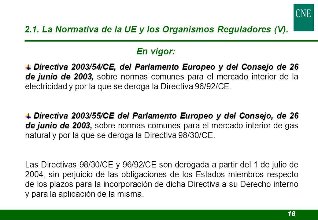 Directiva 2003/54/CE, del Parlamento Europeo y del Consejo de 26 de junio de 2003, Directiva 2003/54/CE, del Parlamento Europeo y del Consejo de 26 de
