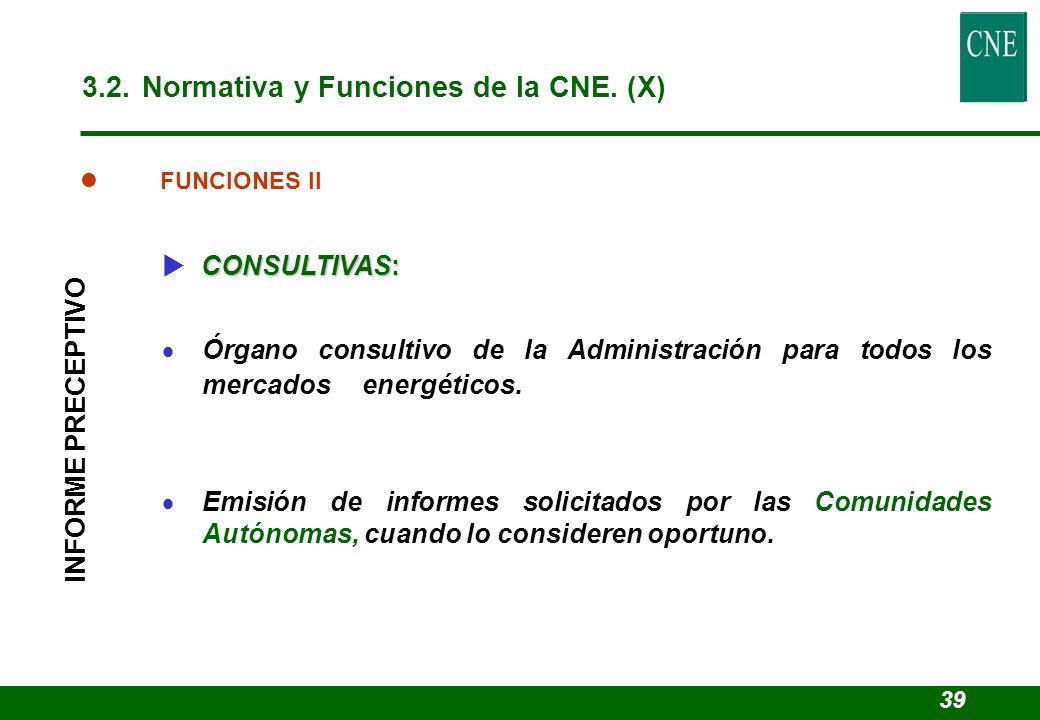 l FUNCIONES II CONSULTIVAS: Órgano consultivo de la Administración para todos los mercados energéticos. Emisión de informes solicitados por las Comuni