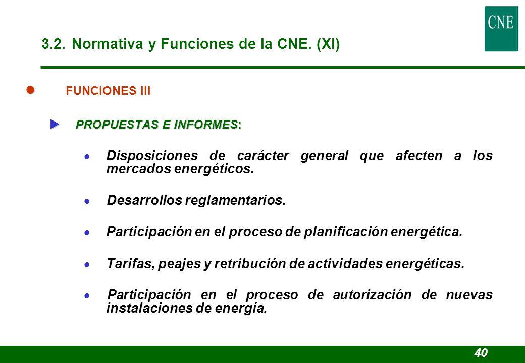 l l FUNCIONES III PROPUESTAS E INFORMES: PROPUESTAS E INFORMES: Disposiciones de carácter general que afecten a los mercados energéticos. Desarrollos