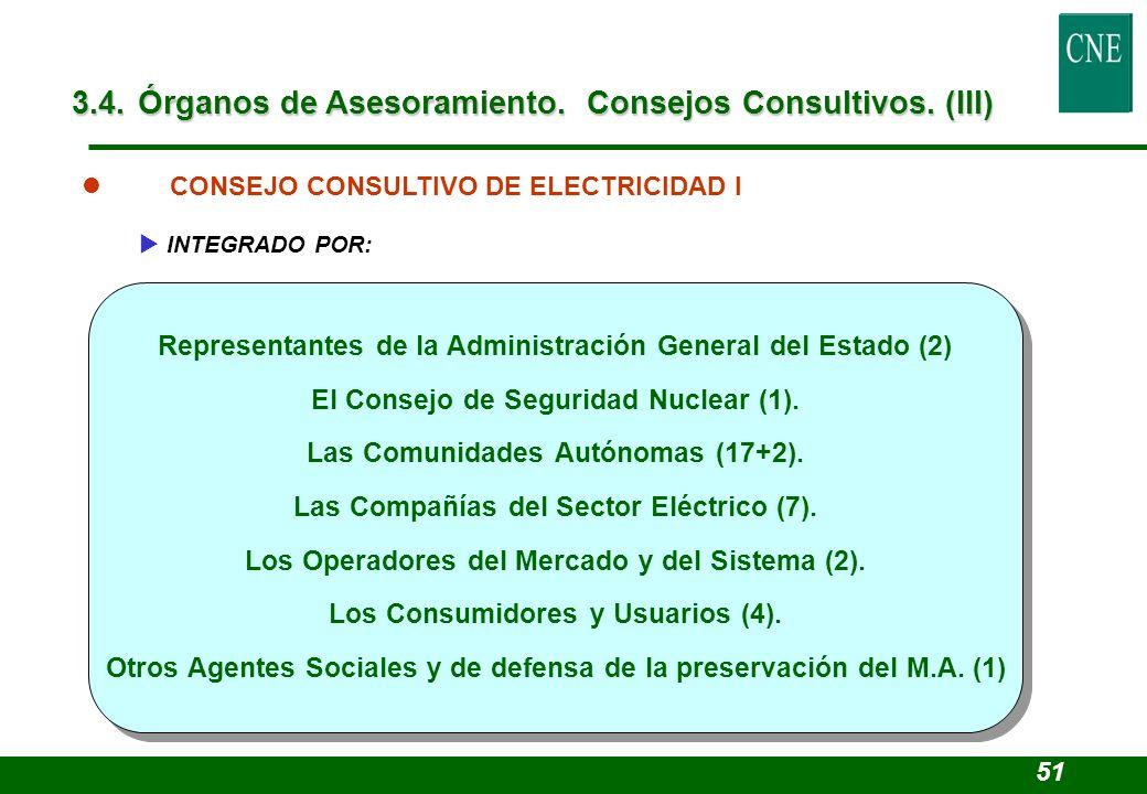 Representantes de la Administración General del Estado (2) El Consejo de Seguridad Nuclear (1). Las Comunidades Autónomas (17+2). Las Compañías del Se