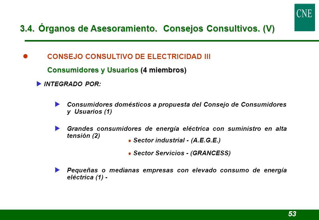 Sector industrial - (A.E.G.E.) Sector Servicios - (GRANCESS) l CONSEJO CONSULTIVO DE ELECTRICIDAD III Consumidores y Usuarios (4 miembros) INTEGRADO P