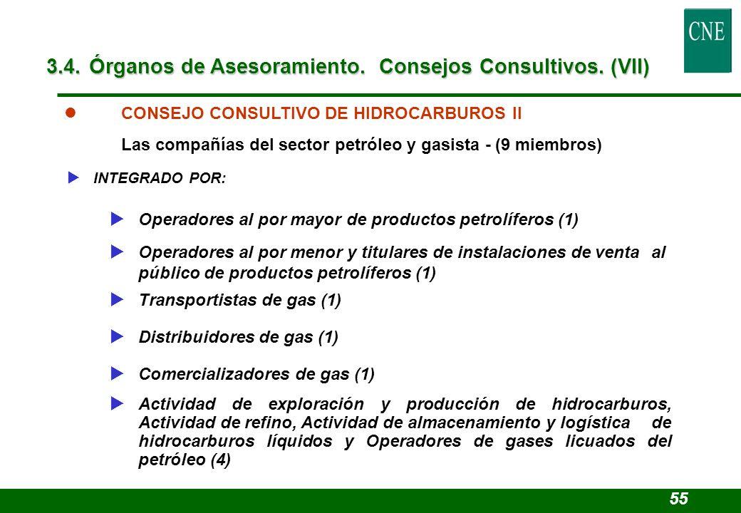 l CONSEJO CONSULTIVO DE HIDROCARBUROS II Las compañías del sector petróleo y gasista - (9 miembros) INTEGRADO POR: Operadores al por mayor de producto