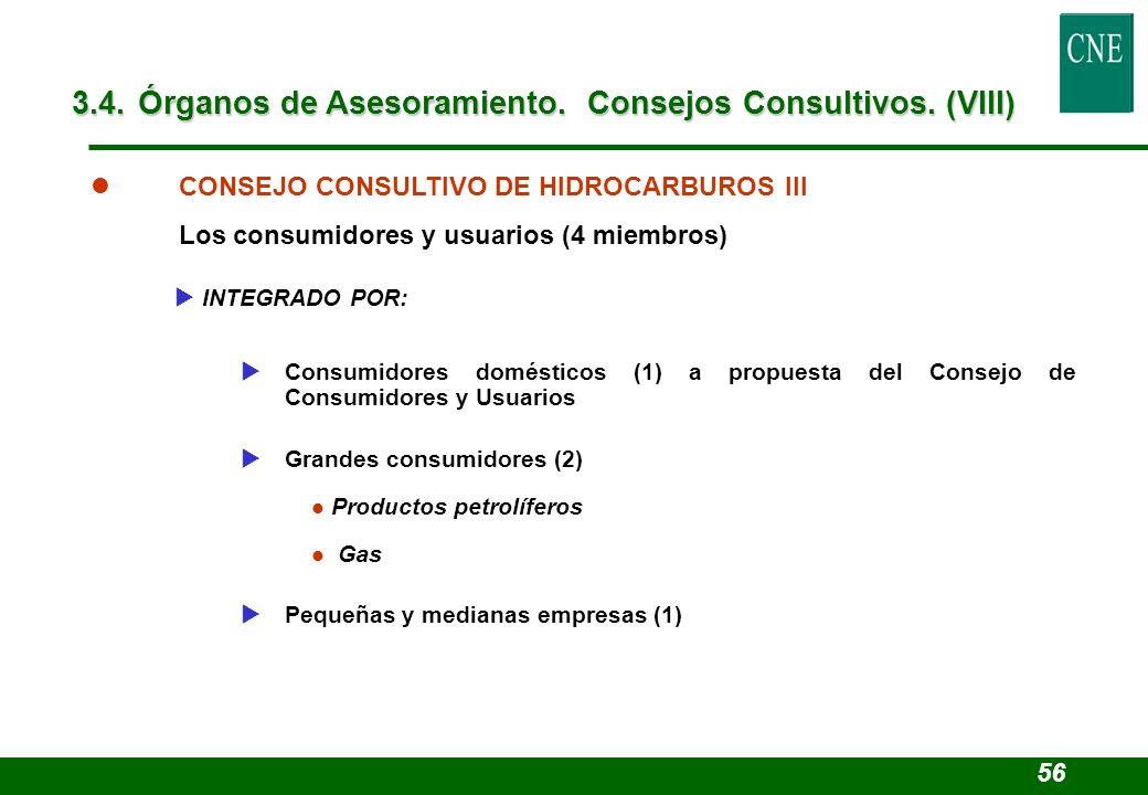 Productos petrolíferos Gas l CONSEJO CONSULTIVO DE HIDROCARBUROS III Los consumidores y usuarios (4 miembros) INTEGRADO POR: Consumidores domésticos (
