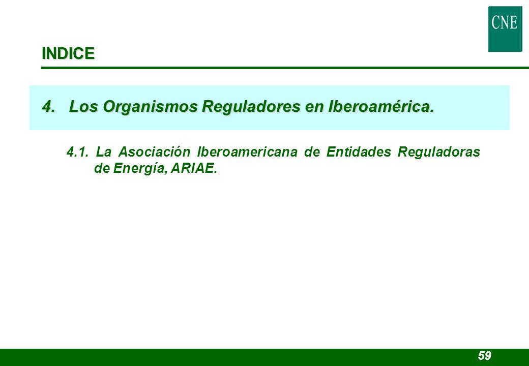 INDICE 4. Los Organismos Reguladores en Iberoamérica. 4.1. La Asociación Iberoamericana de Entidades Reguladoras de Energía, ARIAE. 59