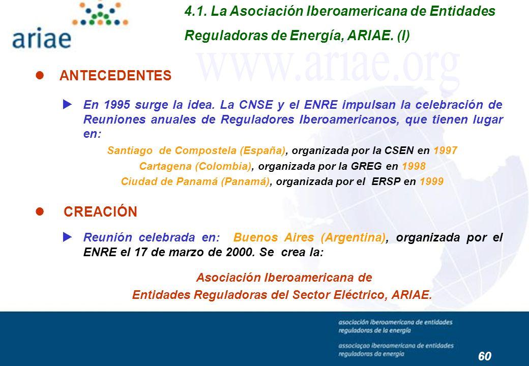 En 1995 surge la idea. La CNSE y el ENRE impulsan la celebración de Reuniones anuales de Reguladores Iberoamericanos, que tienen lugar en: Santiago de
