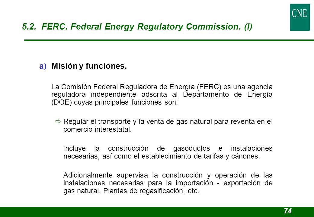 a)Misión y funciones. La Comisión Federal Reguladora de Energía (FERC) es una agencia reguladora independiente adscrita al Departamento de Energía (DO