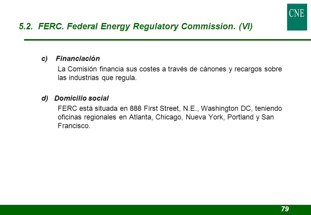 c) Financiación La Comisión financia sus costes a través de cánones y recargos sobre las industrias que regula. d) Domicilio social FERC está situada
