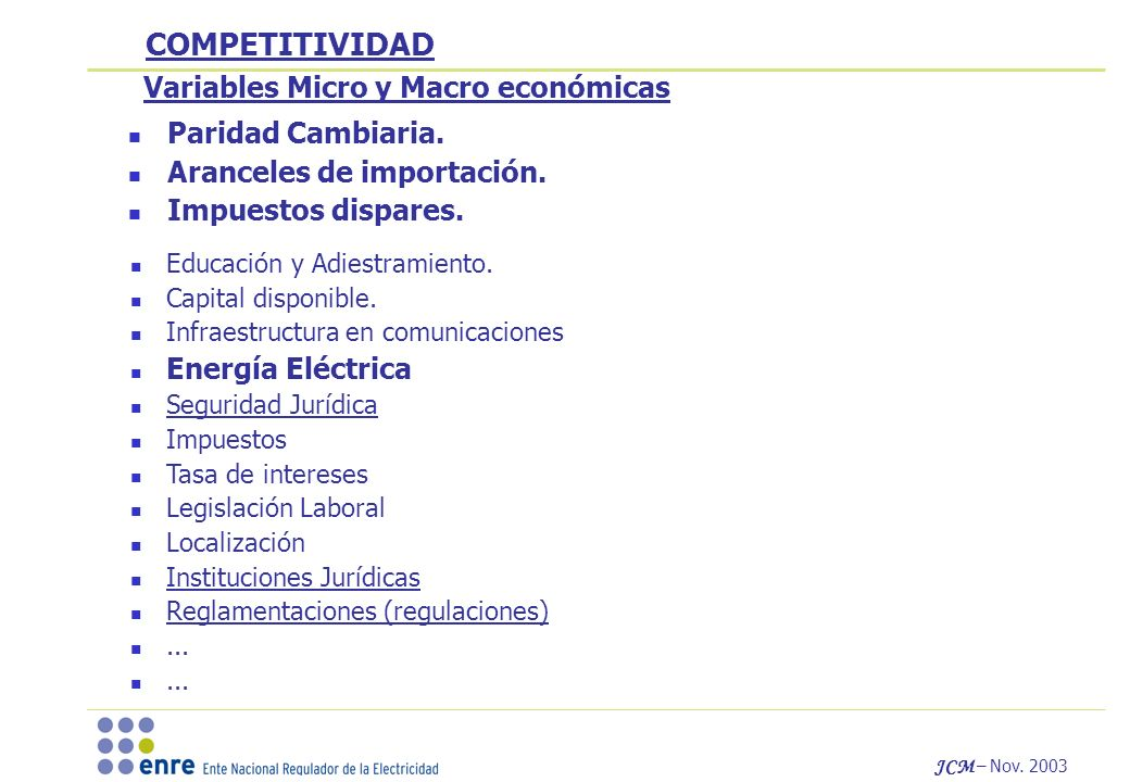 JCM – Nov. 2003 Educación y Adiestramiento. Capital disponible.