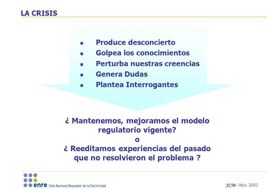 JCM – Nov. 2003 ¿ Mantenemos, mejoramos el modelo regulatorio vigente.