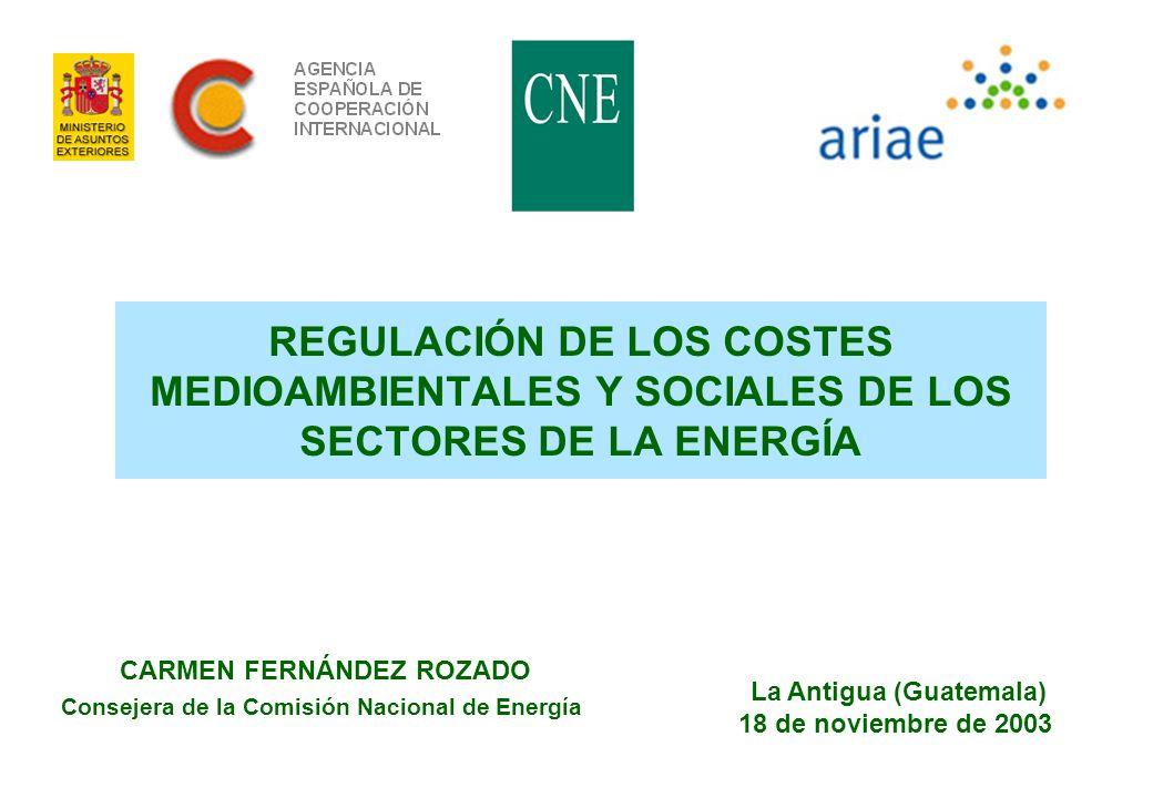 1 REGULACIÓN DE LOS COSTES MEDIOAMBIENTALES Y SOCIALES DE LOS SECTORES DE LA ENERGÍA CARMEN FERNÁNDEZ ROZADO Consejera de la Comisión Nacional de Ener
