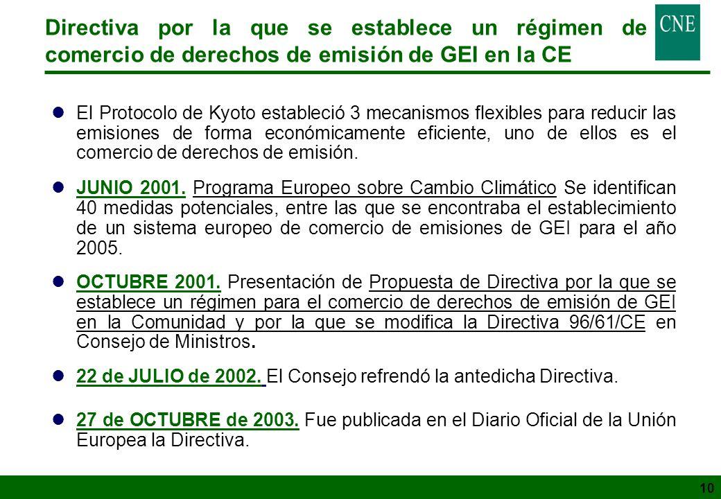 10 lEl Protocolo de Kyoto estableció 3 mecanismos flexibles para reducir las emisiones de forma económicamente eficiente, uno de ellos es el comercio