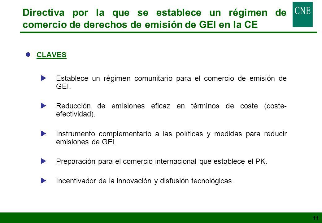 11 Directiva por la que se establece un régimen de comercio de derechos de emisión de GEI en la CE lCLAVES Establece un régimen comunitario para el co