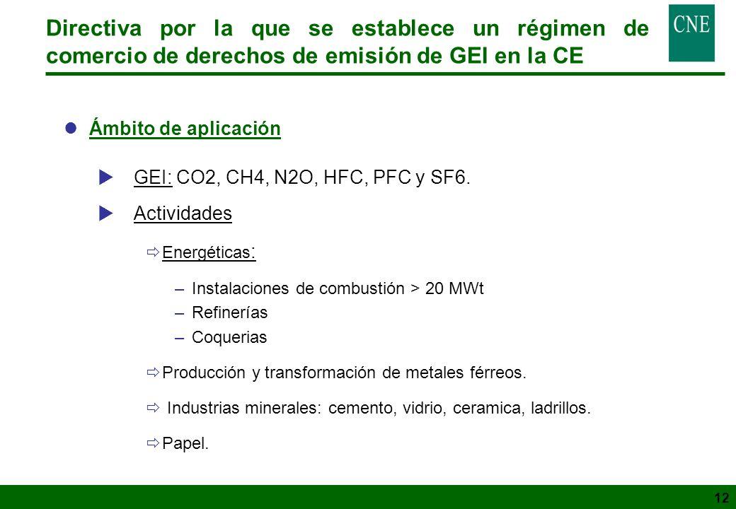 12 Directiva por la que se establece un régimen de comercio de derechos de emisión de GEI en la CE lÁmbito de aplicación GEI: CO2, CH4, N2O, HFC, PFC