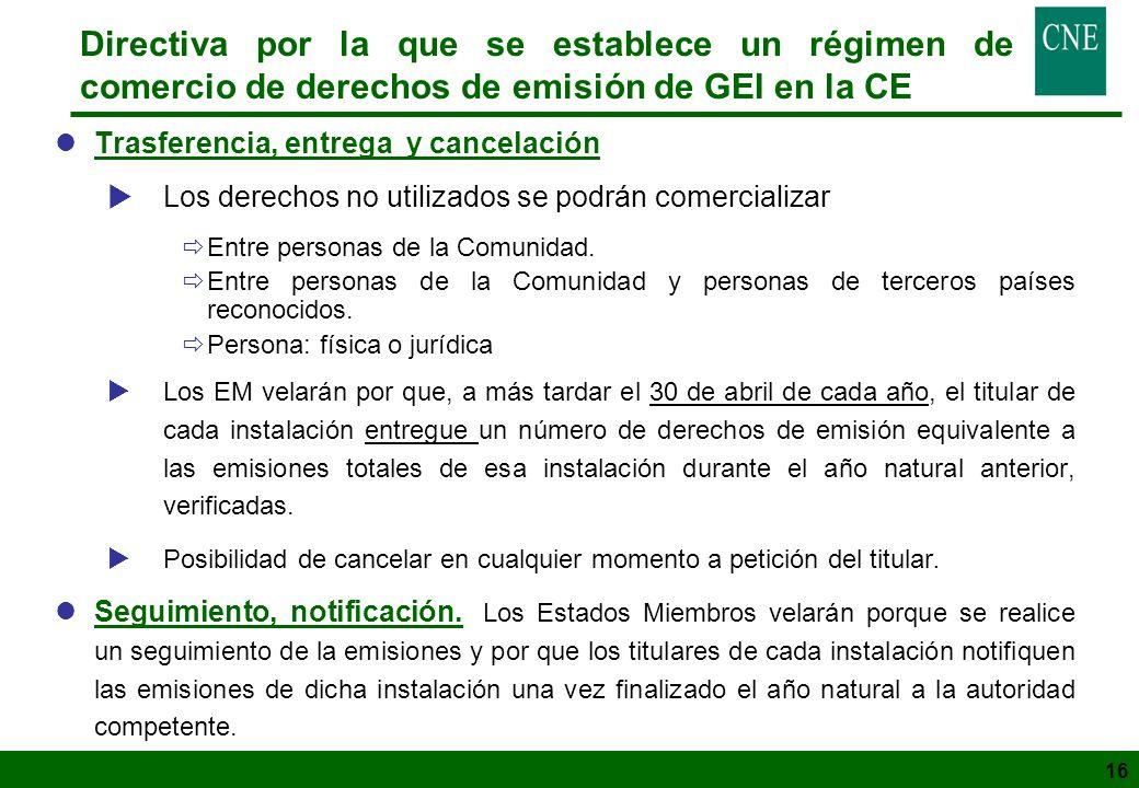 16 Directiva por la que se establece un régimen de comercio de derechos de emisión de GEI en la CE lTrasferencia, entrega y cancelación Los derechos n