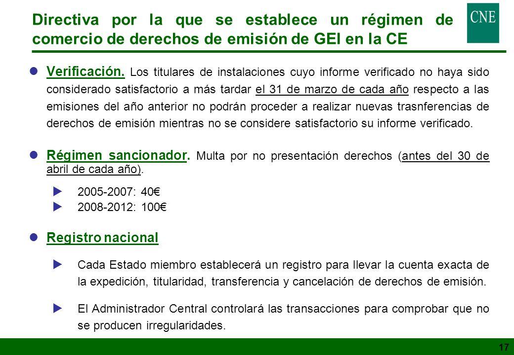 17 Directiva por la que se establece un régimen de comercio de derechos de emisión de GEI en la CE lVerificación. Los titulares de instalaciones cuyo