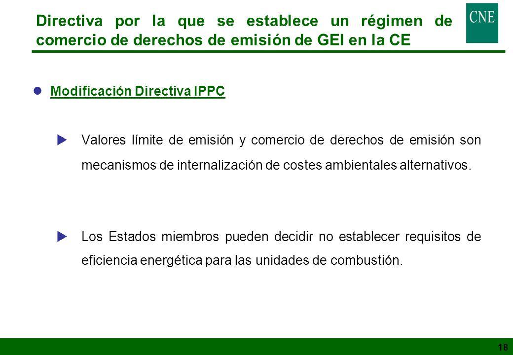 18 Directiva por la que se establece un régimen de comercio de derechos de emisión de GEI en la CE lModificación Directiva IPPC Valores límite de emis