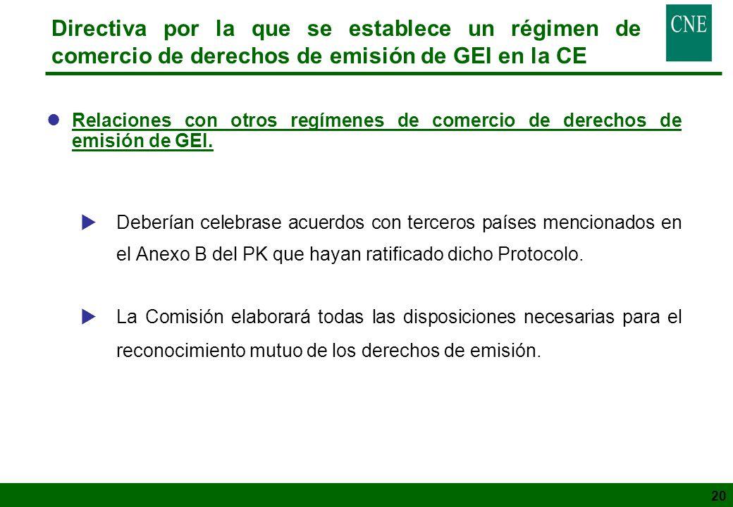 20 Directiva por la que se establece un régimen de comercio de derechos de emisión de GEI en la CE lRelaciones con otros regímenes de comercio de dere