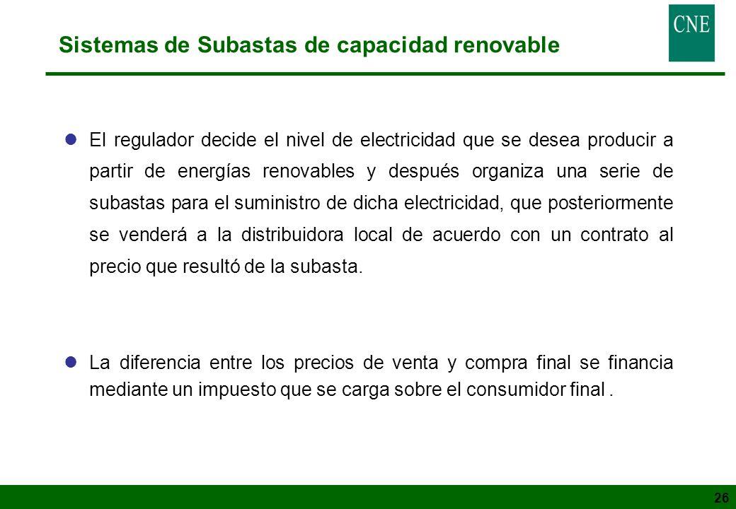 26 Sistemas de Subastas de capacidad renovable lEl regulador decide el nivel de electricidad que se desea producir a partir de energías renovables y d