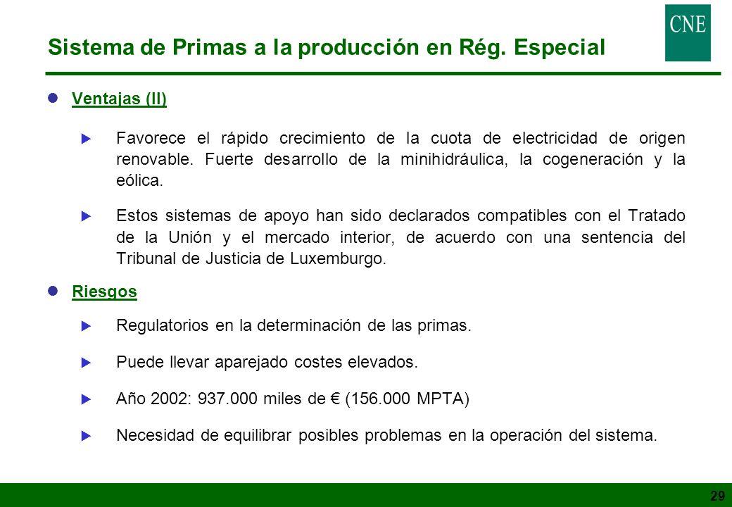 29 Sistema de Primas a la producción en Rég. Especial lVentajas (II) Favorece el rápido crecimiento de la cuota de electricidad de origen renovable. F