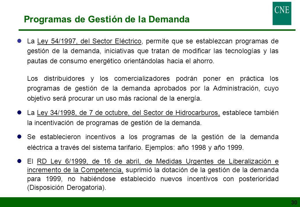 30 Programas de Gestión de la Demanda lLa Ley 54/1997, del Sector Eléctrico, permite que se establezcan programas de gestión de la demanda, iniciativa