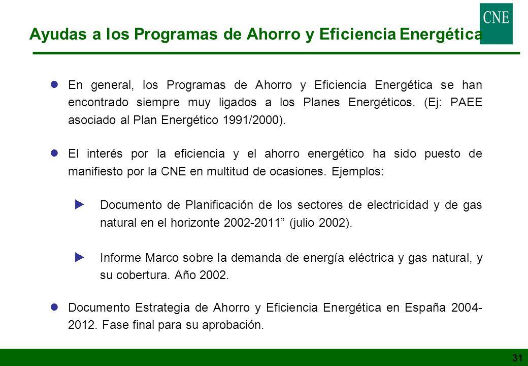 31 Ayudas a los Programas de Ahorro y Eficiencia Energética lEn general, los Programas de Ahorro y Eficiencia Energética se han encontrado siempre muy