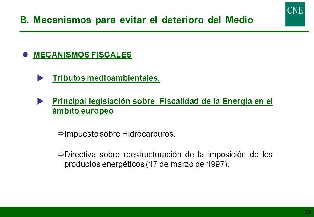 32 B. Mecanismos para evitar el deterioro del Medio lMECANISMOS FISCALES Tributos medioambientales. Principal legislación sobre Fiscalidad de la Energ