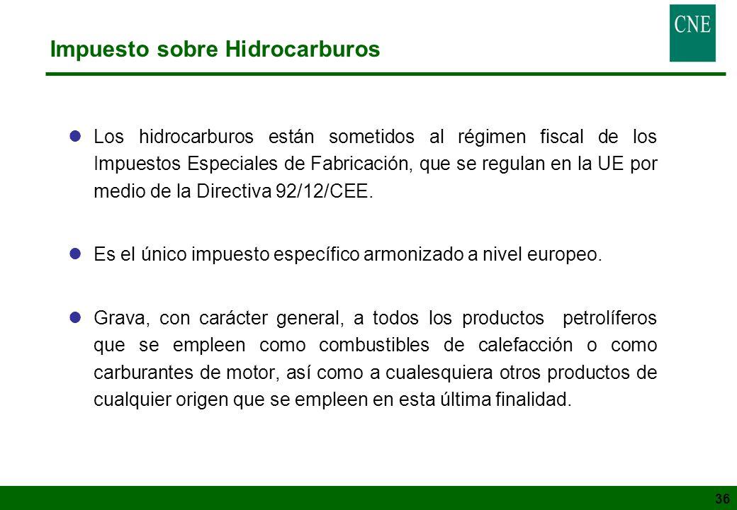 36 Impuesto sobre Hidrocarburos lLos hidrocarburos están sometidos al régimen fiscal de los Impuestos Especiales de Fabricación, que se regulan en la