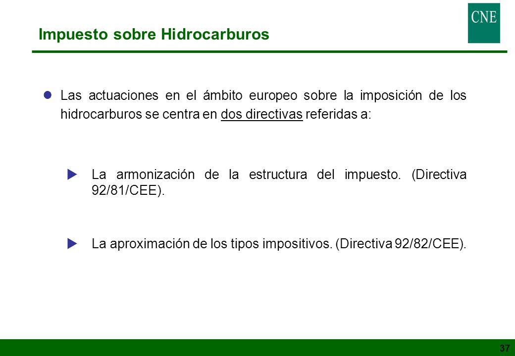 37 Impuesto sobre Hidrocarburos lLas actuaciones en el ámbito europeo sobre la imposición de los hidrocarburos se centra en dos directivas referidas a