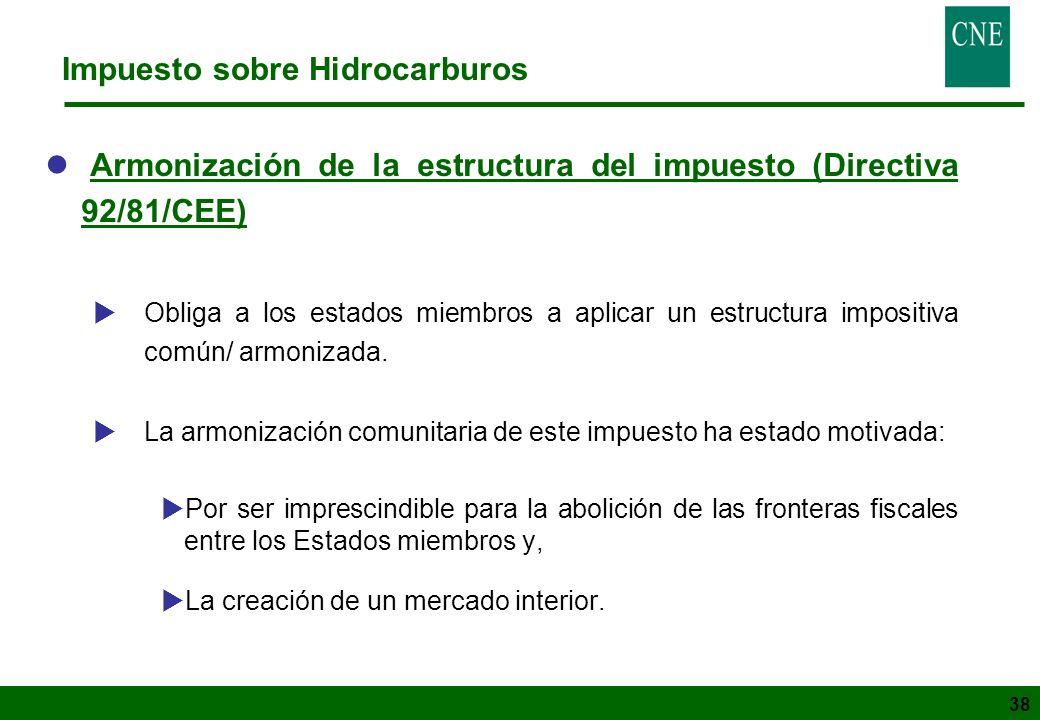 38 Impuesto sobre Hidrocarburos l Armonización de la estructura del impuesto (Directiva 92/81/CEE) Obliga a los estados miembros a aplicar un estructu