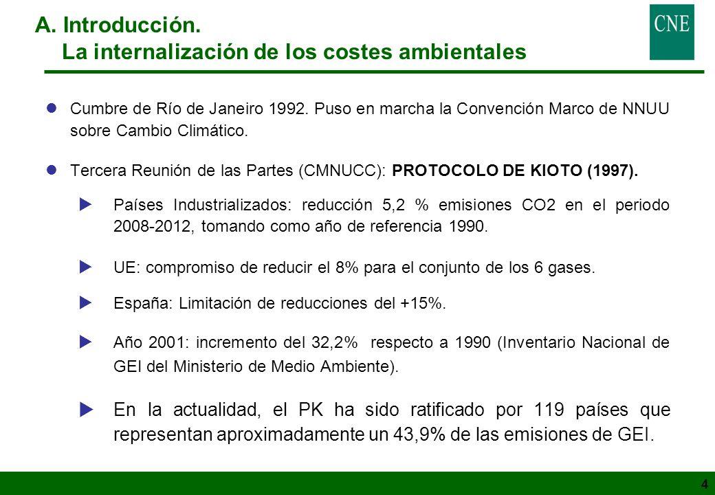 4 lCumbre de Río de Janeiro 1992. Puso en marcha la Convención Marco de NNUU sobre Cambio Climático. lTercera Reunión de las Partes (CMNUCC): PROTOCOL