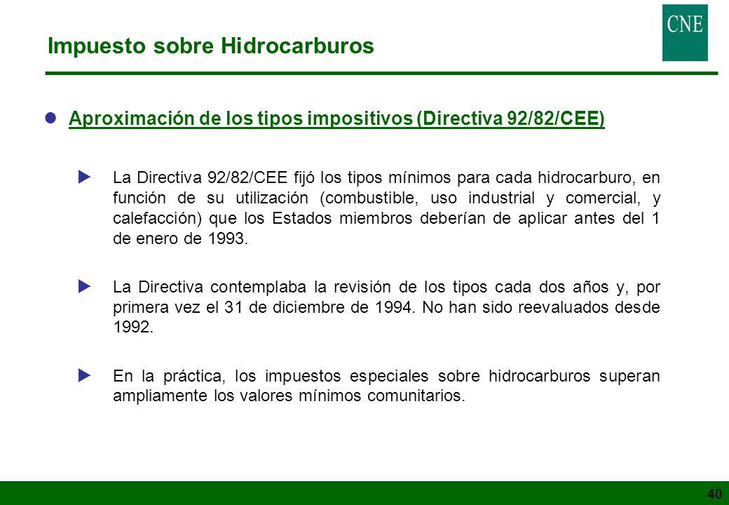 40 Impuesto sobre Hidrocarburos lAproximación de los tipos impositivos (Directiva 92/82/CEE) La Directiva 92/82/CEE fijó los tipos mínimos para cada h