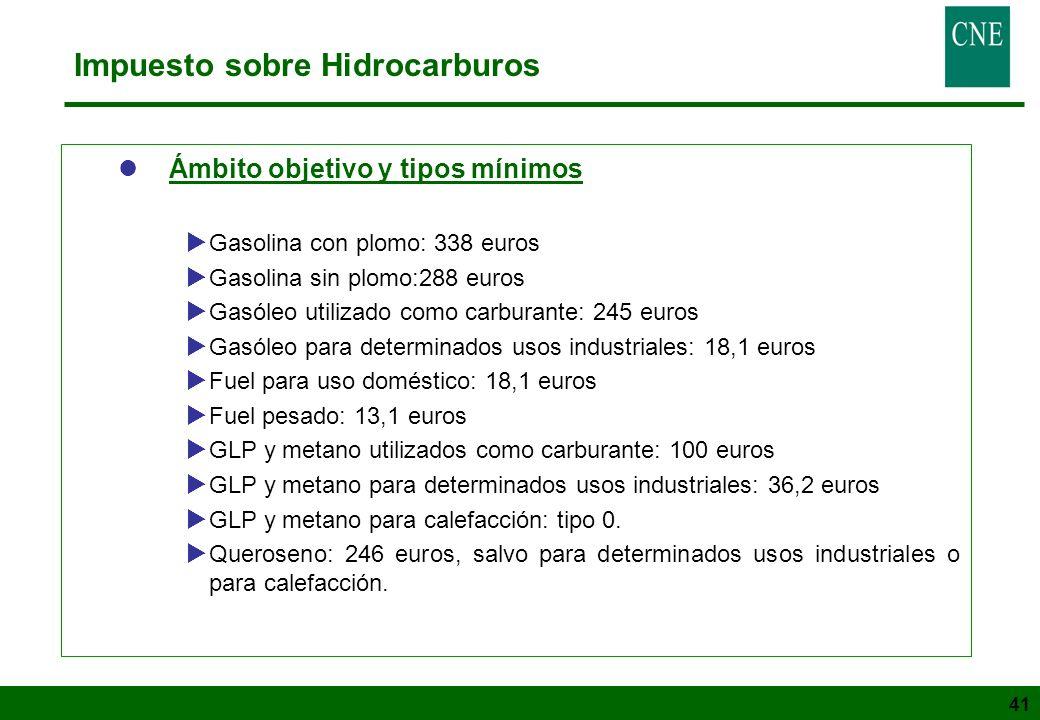 41 Impuesto sobre Hidrocarburos lÁmbito objetivo y tipos mínimos Gasolina con plomo: 338 euros Gasolina sin plomo:288 euros Gasóleo utilizado como car