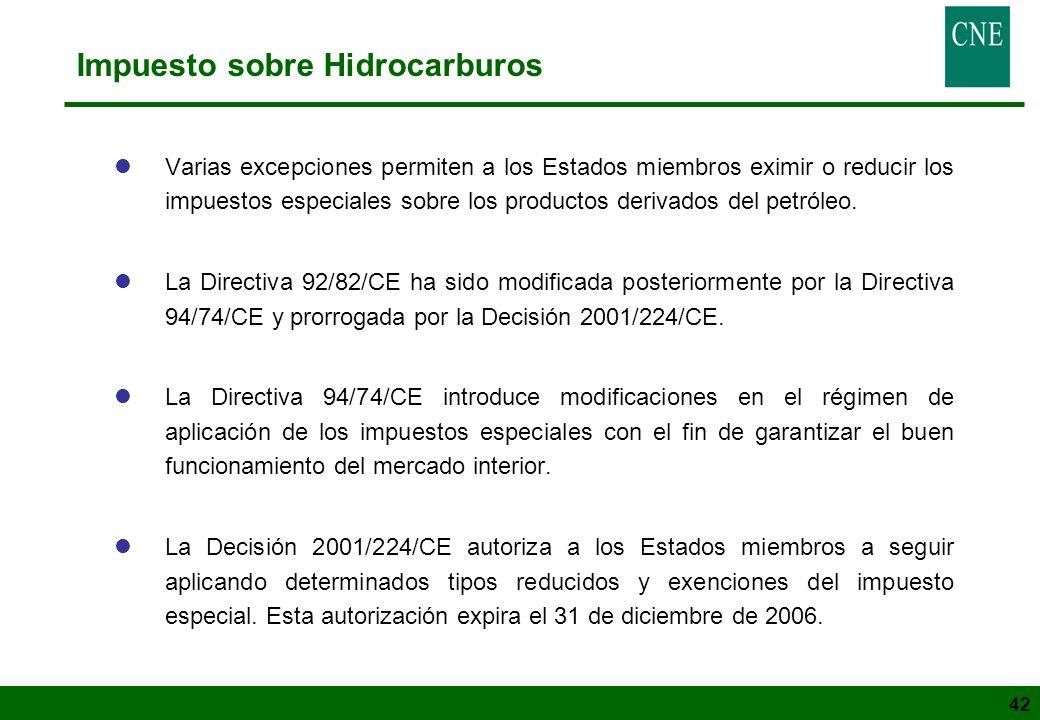 42 Impuesto sobre Hidrocarburos lVarias excepciones permiten a los Estados miembros eximir o reducir los impuestos especiales sobre los productos deri
