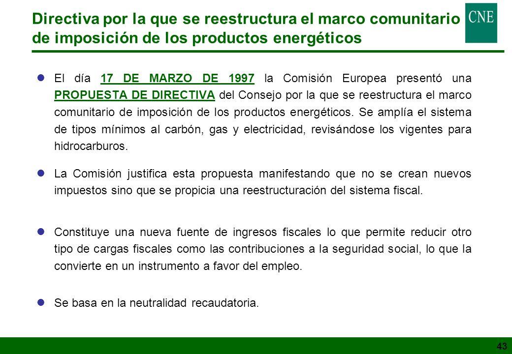 43 lEl día 17 DE MARZO DE 1997 la Comisión Europea presentó una PROPUESTA DE DIRECTIVA del Consejo por la que se reestructura el marco comunitario de