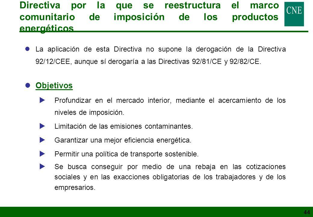 44 Directiva por la que se reestructura el marco comunitario de imposición de los productos energéticos lLa aplicación de esta Directiva no supone la