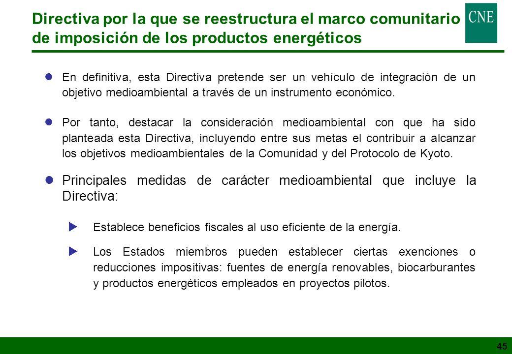45 Directiva por la que se reestructura el marco comunitario de imposición de los productos energéticos lEn definitiva, esta Directiva pretende ser un