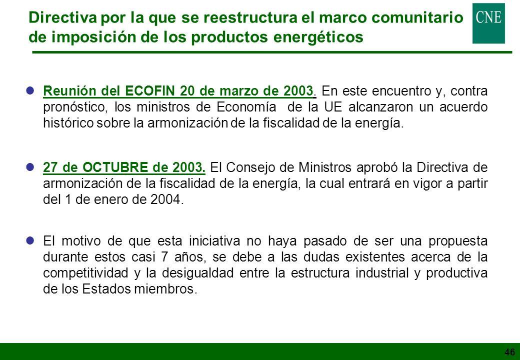 46 Directiva por la que se reestructura el marco comunitario de imposición de los productos energéticos lReunión del ECOFIN 20 de marzo de 2003. En es
